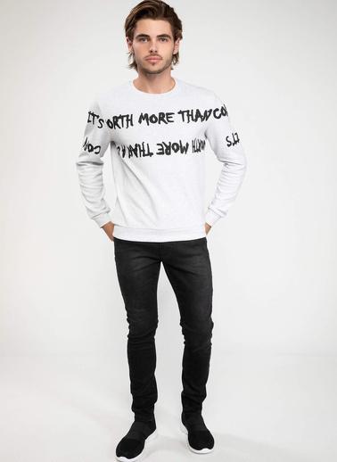 DeFacto Baskılı Sweatshirt Beyaz